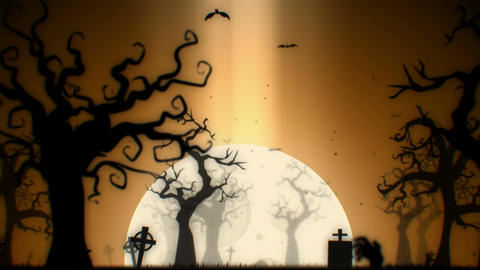 Halloween spooky animation background (gold theme), with spooky tree Animation