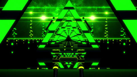3D Green Abstract Triangles Tunnel VJ Loop Motion Background Animation