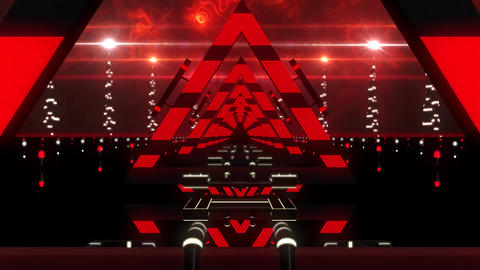 3D Red Abstract Triangles Tunnel VJ Loop Motion Background 画像