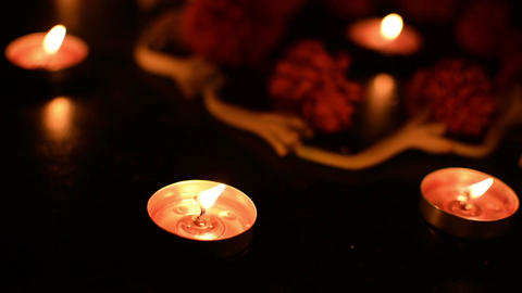 Rangoil lights - decorated candles are lit in Diwali, Indian festival Filmmaterial