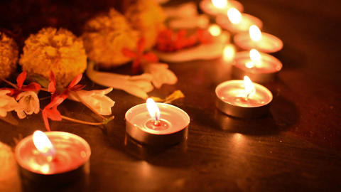 Rangoil lights - decorated candles are lit in Diwali, Indian festival Footage