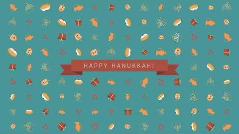 Hanukkah holiday flat design animation background with traditional symbols Animation