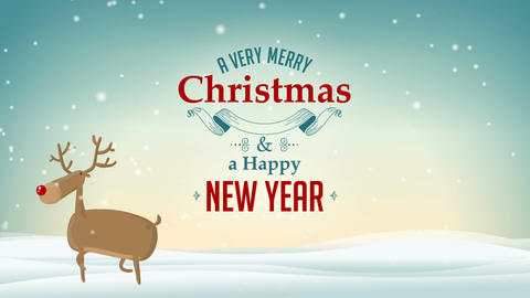 Cute Deer on Winter background with A Very Merry Christmas and Happy New Year Animation