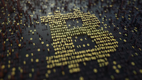 Bitcoin symbol made of golden numbers. Cryptocurrency related animation 영상물