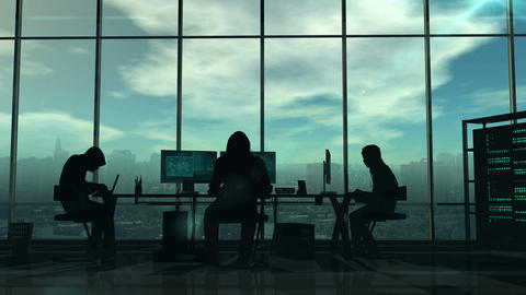 Silhouettes of hackers at work Animation