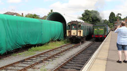 Steam train departing Ongar station on the Epping and Ongar heritage railway Footage