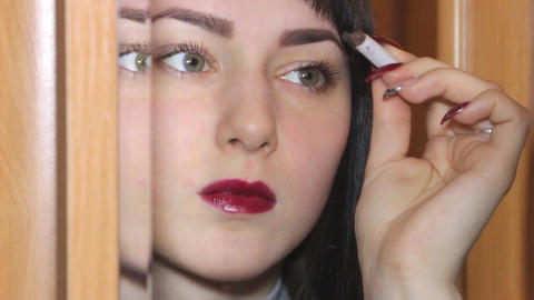 Woman Paints her brows Footage