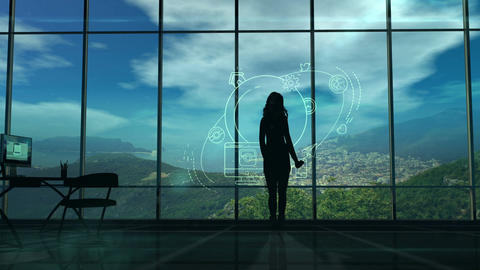 Silhouette of a Woman and Infographics on Internet and Social Media themes Animation