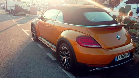 Volkswagen Beetle Dune Convertible Rear View Footage