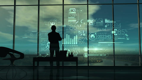 Silhouette of the man in the office and corporate infographic Animation
