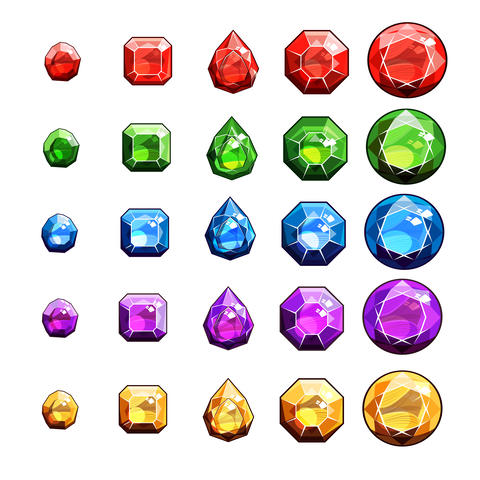 Gems And Diamonds Icons Set Foto