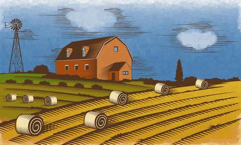 Farm landscape. Engraved Color Illustration Foto
