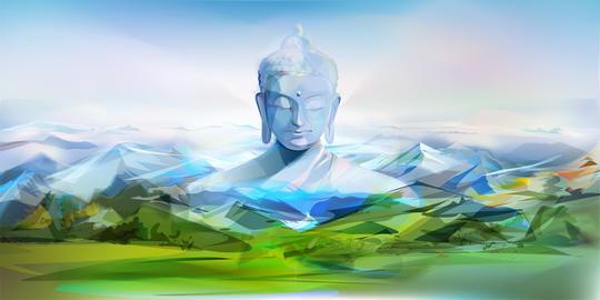 Buddha And Mountains フォト