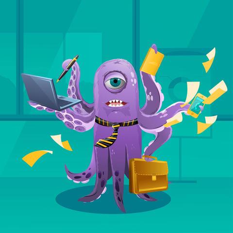 Cartoon Octopus Moster as a Boss Foto