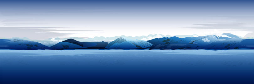 Sea And Mountains, Blue Background Foto