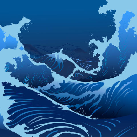 Blue Waves In The Japanese Style フォト