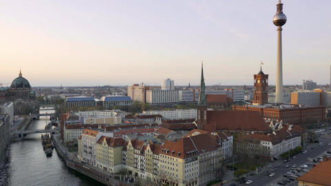 Aerial view of Berlin skyline and Spree river at sunset Footage