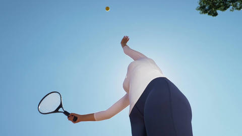 Tennis player throws and catches a ball seen from below Footage