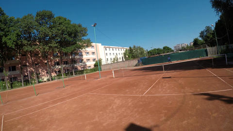 Point of view of tennis players competition on the court Footage
