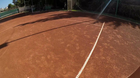 POV point of view of tennis player in slow motion Footage