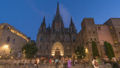 Timelapse video of Barcelona Cathedral at night Footage