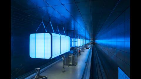 Timelapse of the subway station HafenCity Universität in Hamburg Footage