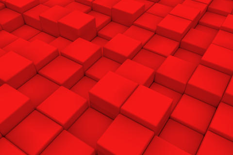 Diagonal surface made of red cubes フォト