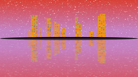 Full Moon night, cityscape illustration with lighting buildings on island, Image