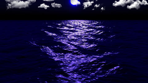 Dark Sea Moonlight Clouds Stock Video Footage