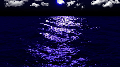 Dark Sea Moonlight Clouds Animation