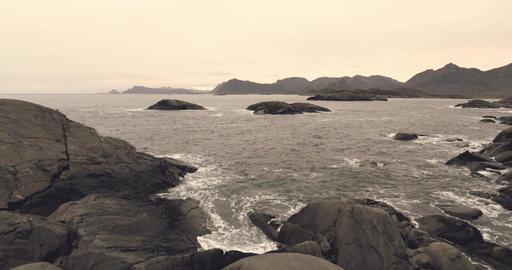 Epic landscape view in Norway Lofoten Footage