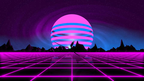 VJ 80's Synthwave Horizon Animation