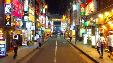 Nightlife street in Shibuya Tokyo Japan at night Footage