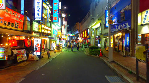 Ueno ekimae shopping street in Tokyo Japan at night Live Action