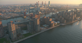 Helicopter View Of The East River, Roosevelt Island, Brooklyn And The Queensboro stock footage