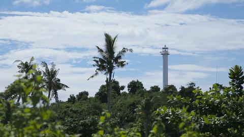 lighthouse and tropical palms.Malapascua Island Footage