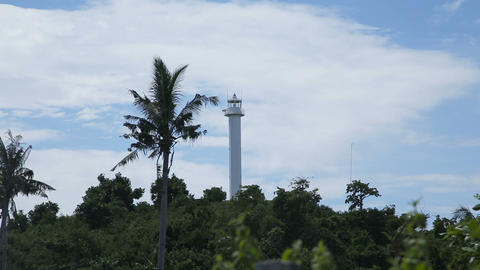 lighthouse and tropical palms.Malapascua Island Footage