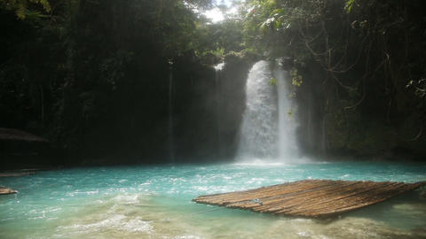 Beautiful tropical waterfall.Kawasan Falls Footage