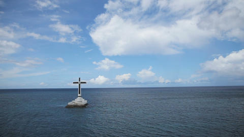 Catholic cross in the sea Footage