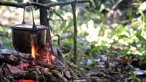Cooking on a Campfire Footage