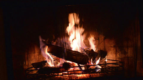 Logs Burning in a Fireplace Footage