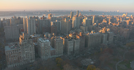 Helicopter Aerial of the Upper West Side of Manhattan at sunset Footage
