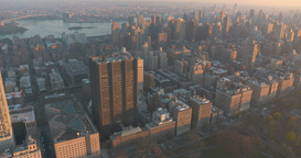 East Harlem and Upper East Side New York Helicopter Aerial at Sunset Footage