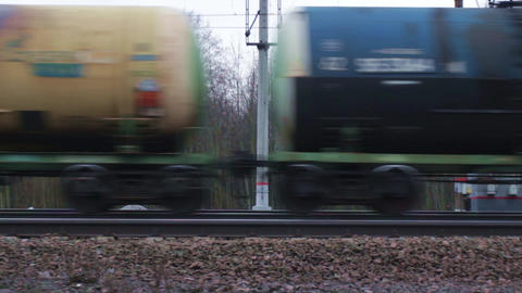 Freight train with petroleum tank Footage