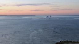 Boat Entering Palma Bay At Dawn stock footage