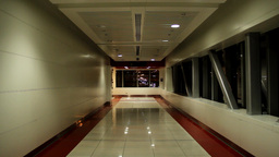 Empty metro passage, overground pedway at late evening, dim illumination Footage