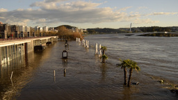 Flooding on the Rio Mondego in Coimbra Portugal Footage