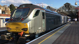The Silver Train Chiltern Railways express train at Marylebone station London UK Footage