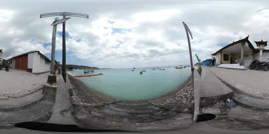 360VR video of seaview and boats at Lembogan beach Footage