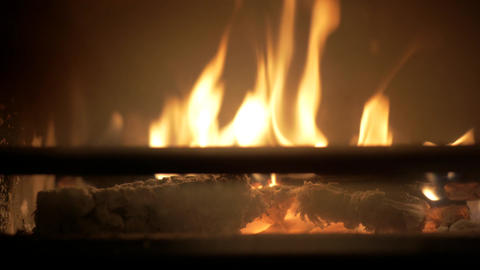 Burning flames in a fireplace Footage